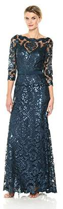 Tadashi Shoji Women's Sequinned Three-Quarter Sleeve Gown with Belt, 2
