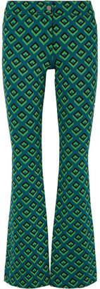 Diane von Furstenberg Jacquard-knit Bootcut Pants - Dark green