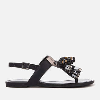 36849f7c7b6a Armani Exchange Women s Tassel Flat Sandals - Black White Gold