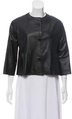 Private Label Sharis Place Leather Button-Up Jacket