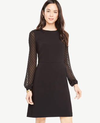 Ann Taylor Tall Chiffon Dot Sleeve Shift Dress