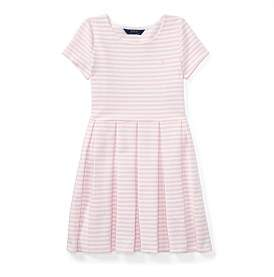 Polo Ralph Lauren Striped Pleated Ponte Dress(8-14 Years)