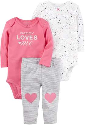 "Carter's Baby Girl Heart Bodysuit, ""Daddy Loves Me"" Bodysuit & Striped Pants Set"