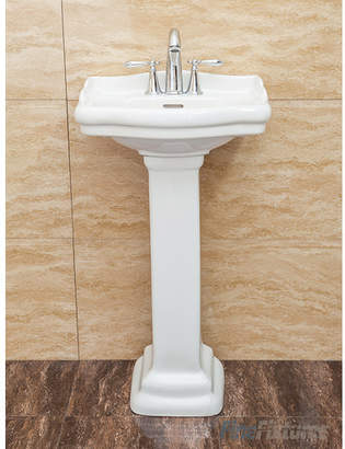 """Fine Fixtures Roosevelt Vitreous China 19"""" Pedestal Bathroom Sink with Overflow Sink"""