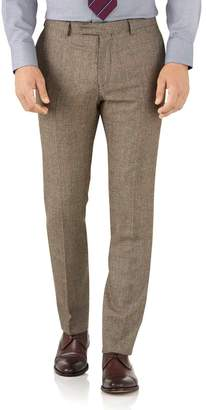 Tan Check Slim Fit British Serge Luxury Suit Wool Pants Size W36 L34 by Charles Tyrwhitt