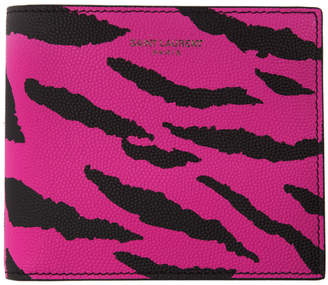 Saint Laurent Pink and Black Zebra East/West Wallet