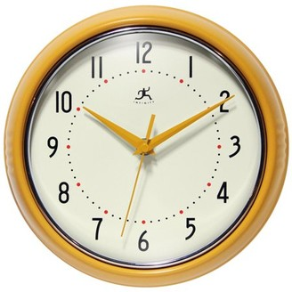 Infinity Instruments 9.5 in Round Wall Clock, Yellow Finish Case, Glass Lens, Second Hand, Silent Movement