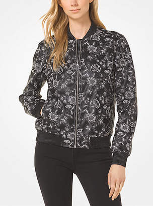 Michael Kors Embroidered Faux Leather Bomber Jacket