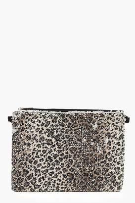 boohoo Sequin Leopard Ziptop Clutch And Chain