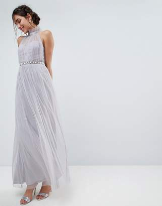 Asos DESIGN Embellished Waist High Neck Tulle Maxi Dress