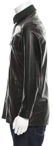 Salvatore Ferragamo Leather Mock Neck Jacket