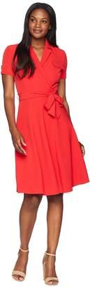 Tahari ASL Short Sleeve Shirtdress with Self Tie Women's Dress