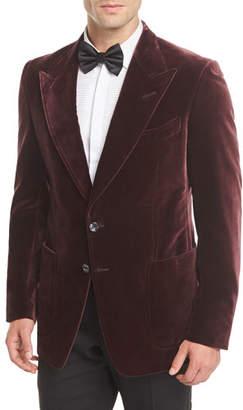 Tom Ford Shelton Velvet Patch-Pocket Tuxedo Jacket