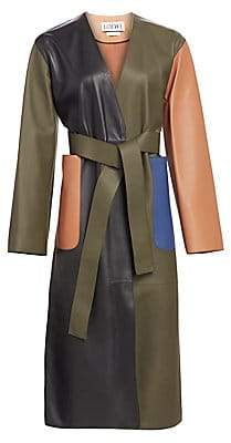Loewe Women's Belted Leather Coat