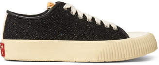 Visvim Skagway Leather-Trimmed Wool-Tweed Sneakers - Black