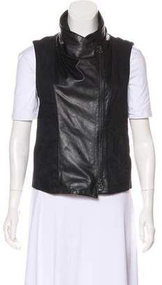Vince Leather-Trimmed Zip-Up Vest