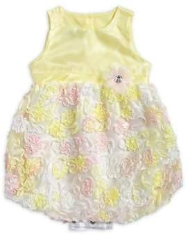 Nannette Little Girl's Sleeveless Floral Applique Dress