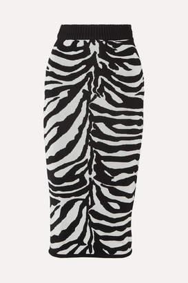 Herve Leger Zebra-intarsia Knitted Midi Skirt - Black
