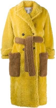 L'Autre Chose belted faux-fur coat