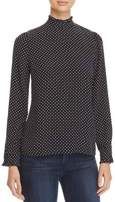 Three Dots Polka-Dot Mock Neck Top