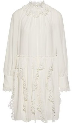 See by Chloe Laser-cut Ruffle-trimmed Crepe De Chine Mini Dress