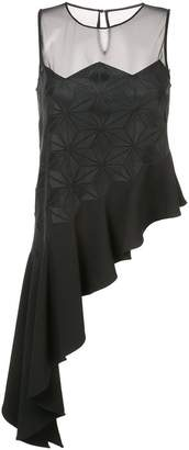 Zac Posen Adel asymmetric top with frill hem