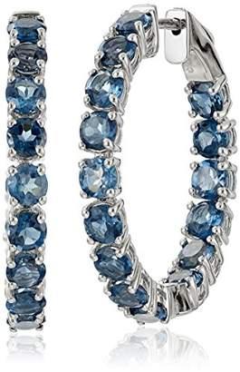 Sterling Silver Multi-Gemstone Oval Hoop Earrings