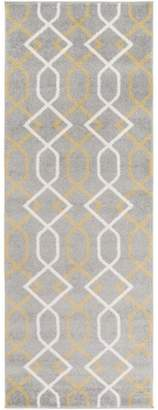 Diva At Home 2.6' x 7.25' Entwine Passions , Gray and Cream Decorative Area Throw Rug Runner