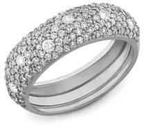Lana 14k White Gold Diamond Curve Ring, Size 7