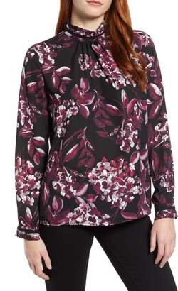 Karl Lagerfeld PARIS Printed Frill Neck Blouse