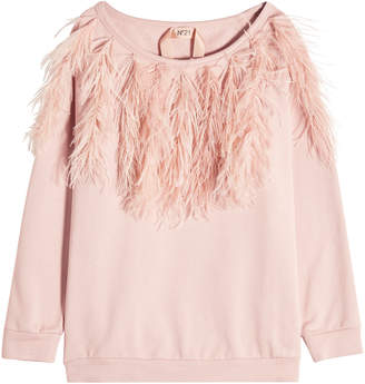 N°21 N21 Cotton Sweatshirt with Ostrich Feathers