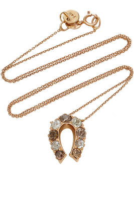 Fox and Bond 14K Rose Gold And Diamond Horseshoe Pendant Necklace
