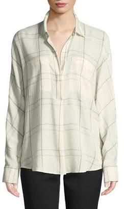 Vince Plaid Long-Sleeve Popover Blouse
