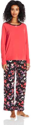 Hue Women's I Heart U Fleece 3 Piece Pajama Set Banded