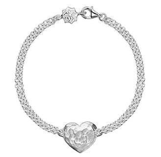 Dower & Hall Cherish Silver Engravable Flat Heart Double Chain Bracelet of 18.5cm