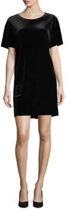 Norma Kamali Velvet Short-Sleeve Shift Dress