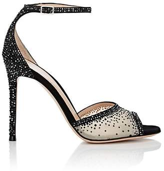 Gianvito Rossi Women's Crystal-Embellished Mesh & Suede Ankle-Strap Sandals