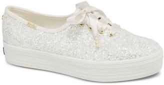 Keds Womens Triple Kate Spade Glitter Canvas Sneakers