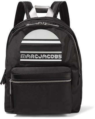 Marc Jacobs Rubber-appliquéd Leather-trimmed Shell Backpack - Black