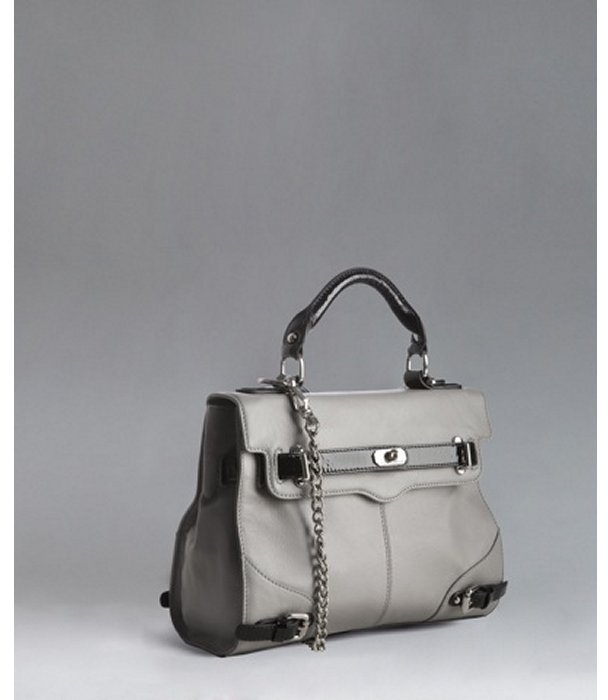 Rebecca Minkoff pale grey leather 'Jane' convertible chain strap satchel