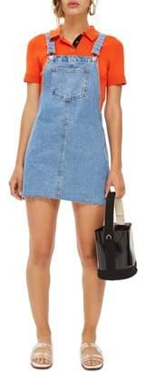 Topshop Raw Hem Denim Pinafore Dress