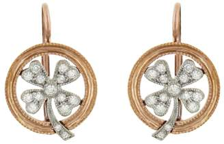 Cathy Waterman Diamond Four Leaf Clover Earrings - Rose Gold