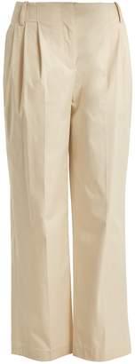 Diane von Furstenberg Pleat-front cotton-poplin trousers