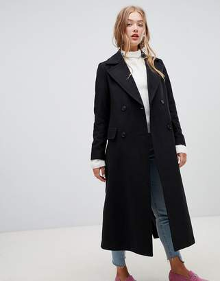 New Look tailored maxi coat in black