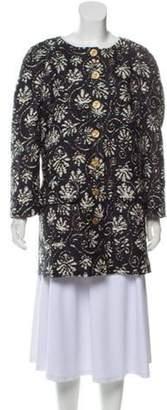 Chanel Short Jacquard Coat Navy Short Jacquard Coat