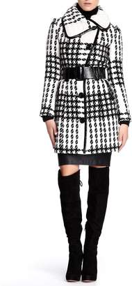 Blend of America Vertigo Paris Women's Houndstooth Wool Coat with Belt