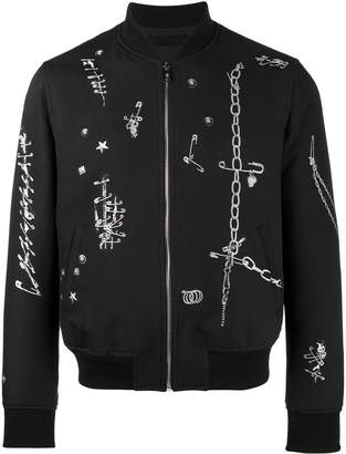 Alexander McQueen safety pin print bomber jacket