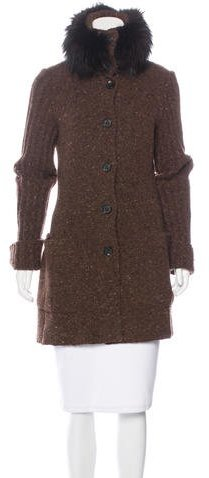Valentino Valentino Fox-Trimmed Wool Coat