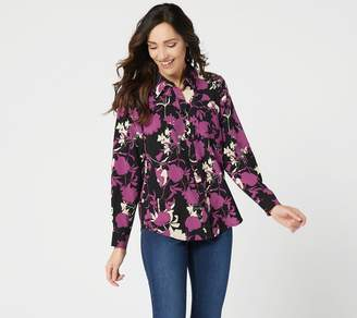 Denim & Co. Floral Printed Button Front Long-Sleeve Blouse