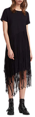 AllSaints Tami Tassel Layer Dress, Black